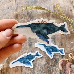 Watercolour Whale & Mushroom Sticker