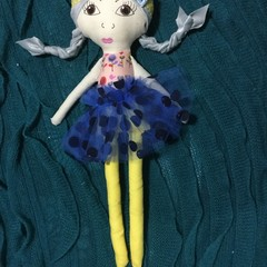 Ray of hope doll - Peach floral print with blue skirt
