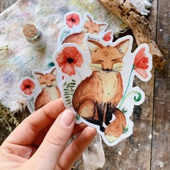 Watercolour Botanical Fox Sticker