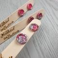 Silver Pink Glitter Resin Button Stud Earrings