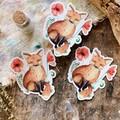 Watercolour Botanical Fox Sticker
