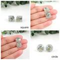 Blue flowers & silver glitter studs