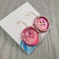 Super Sparkly Princess Glitter - Button Hook Dangle earrings - MEDIUM