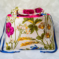 Vintage Floral Project Bag for Crochet/Knitting (with drawstring closure)
