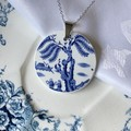 Booths Blue Willow Lake Scene pendant