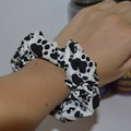 Black and White Pawprint Scrunchie