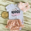 """Little Rodeo Cowgirl"" Onesie Set Baby Girl"