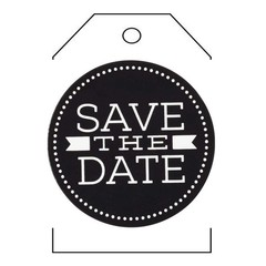 BLACK AND WHITE SAVE THE DATE  TAGS