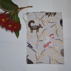 Grey Australian Animal Drawstring Bag