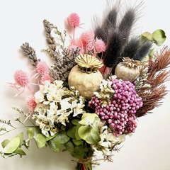 Boho Soul - Dried mini bouquet - Eucalyptus - Lavender - Poppy pods - 20cm