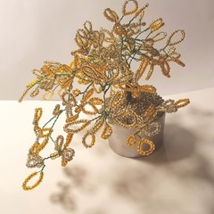 How Australian a Seed bead trees, beaded in green and gold,