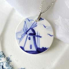 Delft Blue Windmill on Sterling Silver