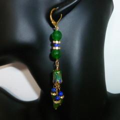 Emerald, Sapphire and enamel earrings