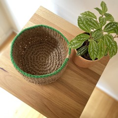 Crochet jute basket