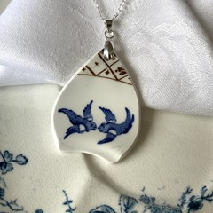 Blue Willow Swallows on Sterling Silver