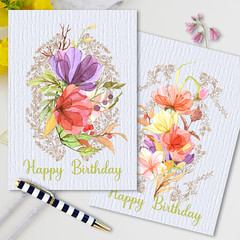 Delicate Florals Birthday Cards