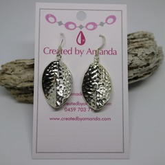 Silver Hammered Oval Earrings