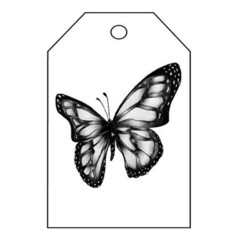 BLACK AND WHITE BUTTERFLY TAG