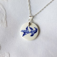 Blue Willow Swallows Round Sterling Silver