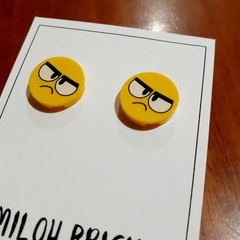 Happy & Crazy Face Brick Stud Earrings