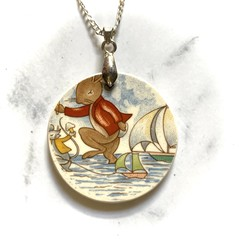 Bunnykins Sailing on Sterling Silver