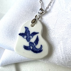 Blue Willow Swallows Heart Sterling Silver