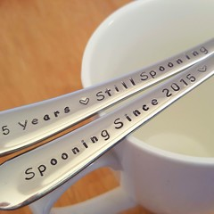 Custom Anniversary Spoons, Still Spooning, Hand Stamped,