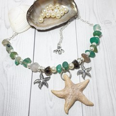 Seaside Starfish Nautical Pendant Necklace with gemstones