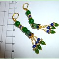 Emerald, Sapphire and enamel earrings