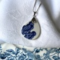 Blue Willow Trees Round Sterling Silver