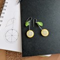 Lemon Slice Drop Earrings (Yellow) - Handmade Kawaii
