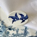 Blue Willow  Swallows Brooch