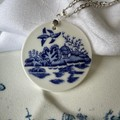 Blue Willow swallow pendant on Sterling Silver