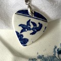 Blue Willow Swallow on Sterling Silver