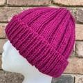 Knitted pink beanie, ladies beanie, ladies pink hat