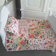Dolls quilt and pillow, dolls bedding, girl gift,