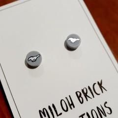 Silver Stallion Brick Stud Earrings