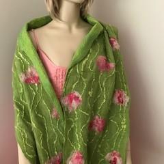 nuno felted Aussie superfine merino silk scarf green pink