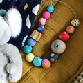 "Hand-painted ""JNR ESSY"" Wooden Necklace!"
