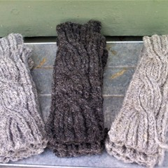 Handspun Fingerless Arm Warmers - Pure Wool Hand Knitted Arm Warmers