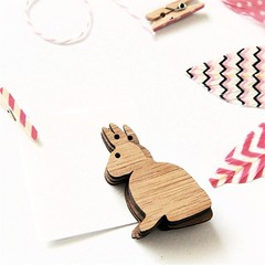 FREE POST | 5 Easter Bunny bamboo tags | Decorate, create garlands, gift wrap