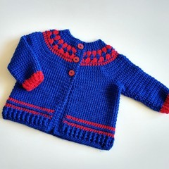 Royal Blue & Red Crocheted Fair aisle Baby Cardigan 1-2 Years