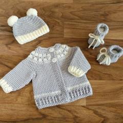 Pale Grey & Cream Fair aisle Newborn Baby Cardigan, Beanie & Booties