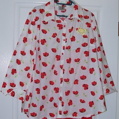 Long sleeved cotton blouse white with red poppies