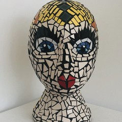 Handcrafted Mosaic Head - A Wide-Eyed Beauty