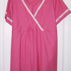 Pink cotton cross over llinen look top with lace trim