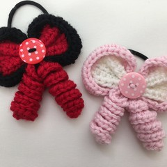 Hair Bow / Elastic / Ponytail/ Minnie Mouse