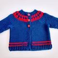 Royal Blue & Red Crocheted Fair aisle Baby Cardigan 1-2 Years