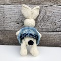 Eloise the Knitted Bunny Rabbit Toy with Mint/Blue  dress with a Whale Border
