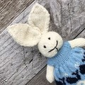 Eloise the Knitted Bunny Rabbit Toy with Mint/Blue  dress with a Whale Boarder